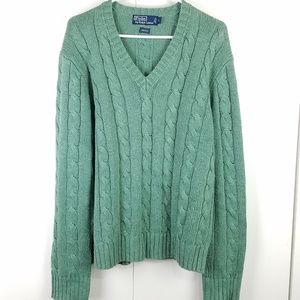 Polo Ralph Lauren sea green cable knit sweater Lrg